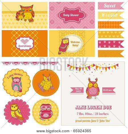 Baby Shower Owl Party Set - for design and scrapbook - in vector