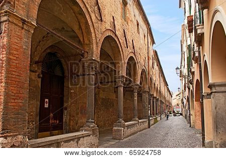 The Narrow Street With Arcades