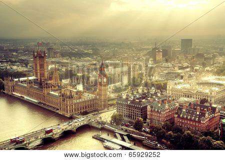 Westminster aerial view with Thames River and London urban cityscape.