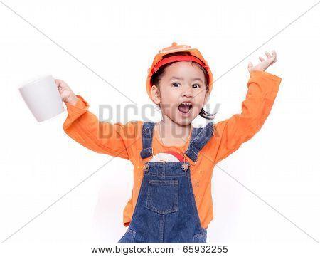 Asian Engineer Baby Girl Holding The White Mug