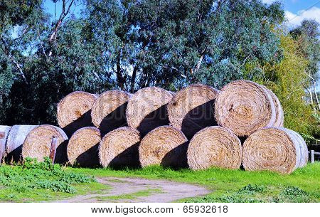 Geometric Form Of A Large Stack Of Hay Bales At Barossa Valley, South Australia.