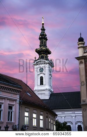 Ortodox Church In Novi Sad Serbia At Dawn