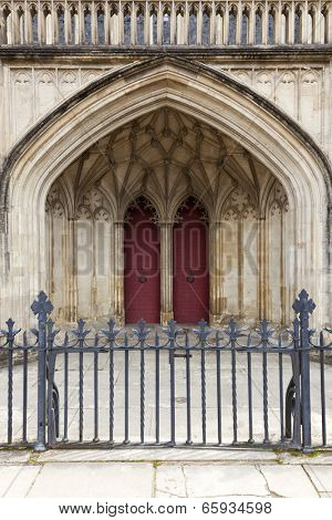 Main entrance and fence of Winchester Cathedral, Hampshire, England