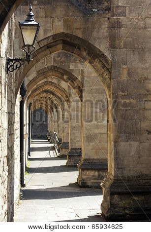 Archway outside of Winchester Cathedral, Hampshire, England