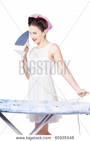 Pin Up Woman Providing Steam Clean Ironing Service