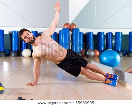 Fitness side push ups man pushup at gym workout execises