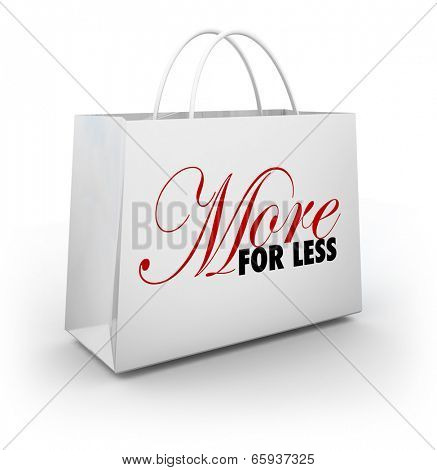 More for Less shopping bag from a store sale, discount or clearance savings event