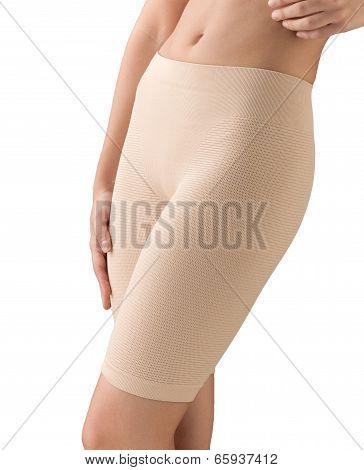 slimming woman wearing elastic waist pant