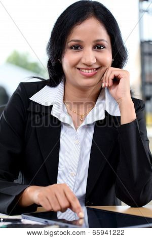 Young Business Woman Working With Tablet Computer