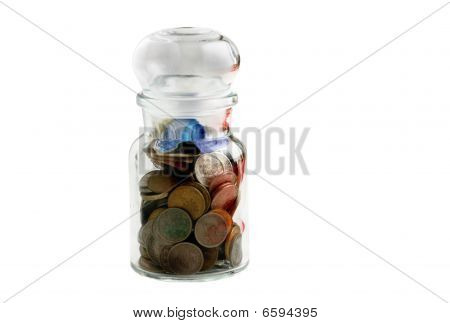 Old Coins In Old Bottle