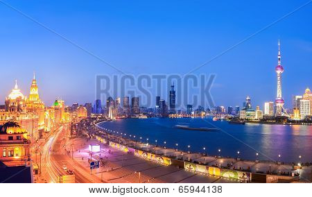 Beautiful Panoramic View Of Shanghai In Nightfall