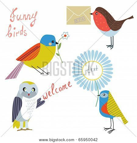 Funny bird with message flowers