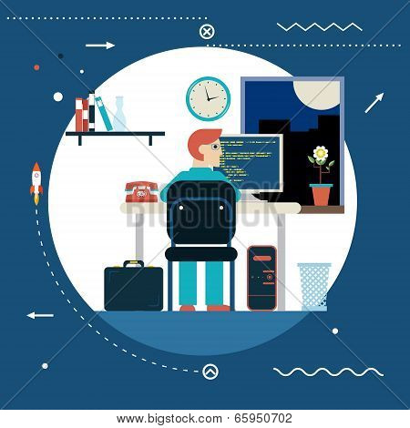 Programming and Web Development Concept Symbol Programmer Works at Work Desk Home Icon on Stylish Ba