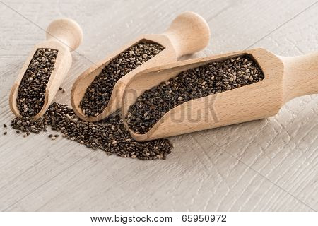 Chia Seeds In Wooden Scoops