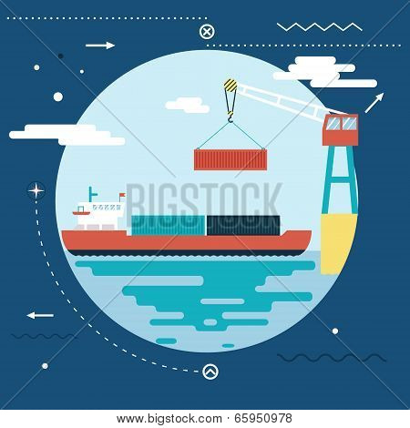 Shipment Freight Symbol Ocean Sea River Shipping Loading Cargo on Stylish Background Modern Flat Des