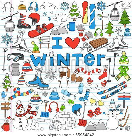 Winter Fun Sports, Activities and Accessories Hand-Drawn Notebook Doodles Set with Sled, Skis, Skates, Snowboard, Snowman, Christmas Tree, Snowflake and More