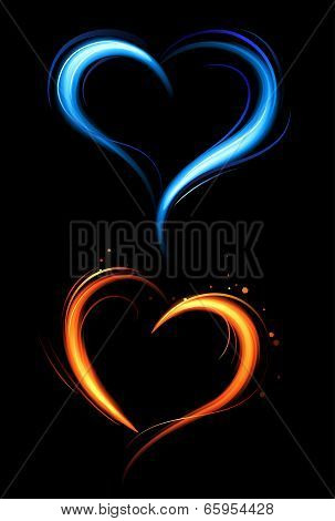 Heart From Red And Blue Fire.