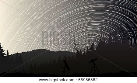 Illustration Of Stars Trace Circles On The Sky Over The Forest.