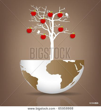 Abstract tree on a deforested globe. Vector illustration.