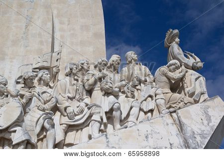 LISBON, PORTUGAL - MAY 28, 2014: Close up of the Monument to the Discoveries in Lisbon. The monument celebrates the Portuguese Age of Discovery during the 15th and 16th centuries.