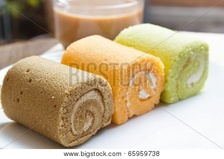 Jam Swiss Roll Cake Three Flavors.