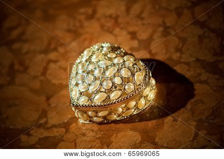 Casket For Wedding Rings. Beautiful Background