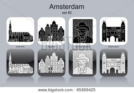 Landmarks of Amsterdam. Set of monochrome icons. Editable vector illustration.