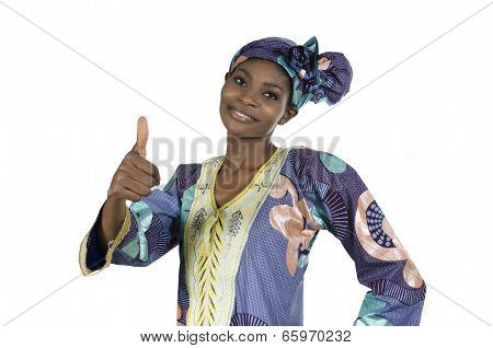 Pretty African Woman In Traditional Clothes Thumb Up