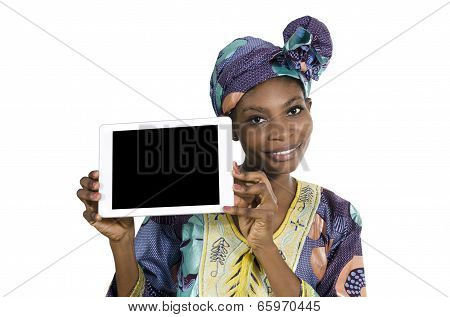 Pretty African Woman With Tablet Pc, Free Copy Space