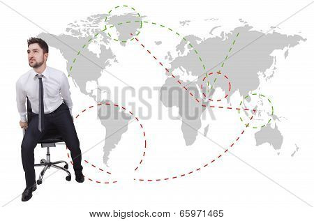 Businessman Traveler With Chair