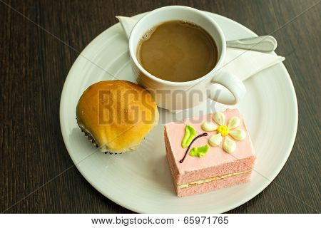 Hot Coffee In White Cup With Sandwich Ham&cheese And Sweetmeat