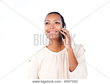 Charming Ethnic Businesswoman On Phone