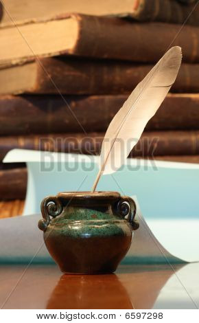 Inkpot With Feather