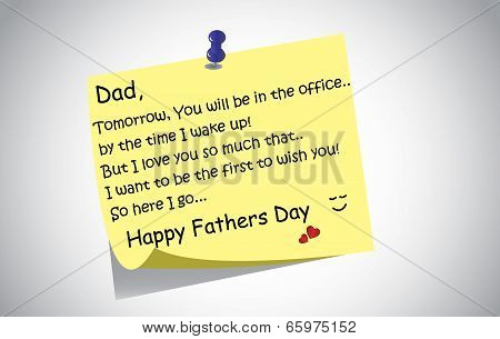 Unique Happy Fathers Day Post It Note Text Greetings Concept. A Touching And Lovely Fathers Day Wish