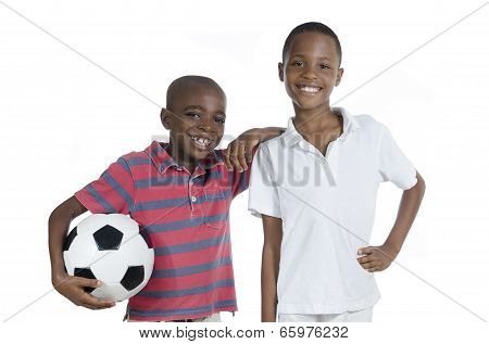 Two African Boys With Foot Ball