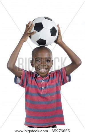 African Boy With Football Smiling