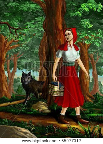 Red riding hood going through the wood. Digital painting.