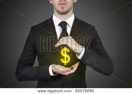 businessman protecting money dollar symbol
