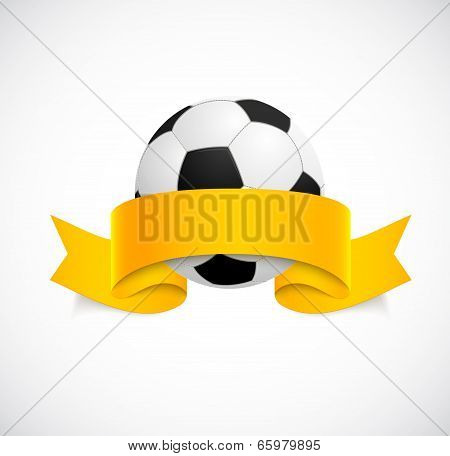Soccer ball with orange ribbon