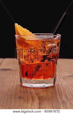 Spritz Aperitif - Orange Cocktail With Ice Cubes