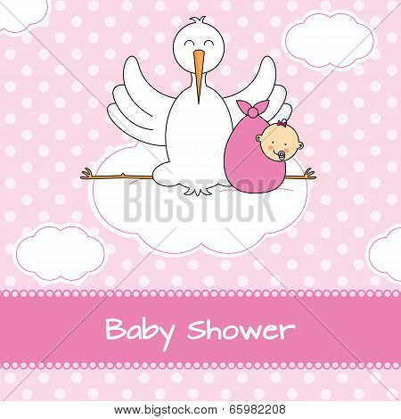 Stork with baby