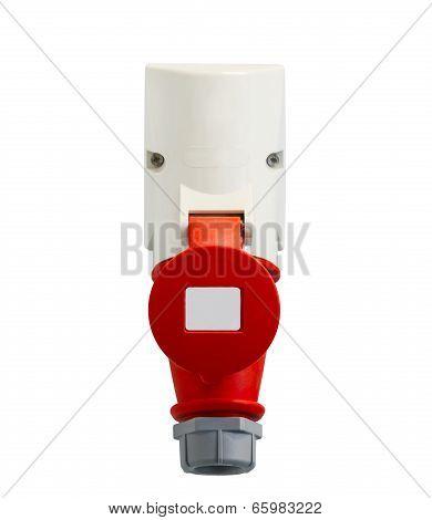 High Voltage Power Plug On White Background
