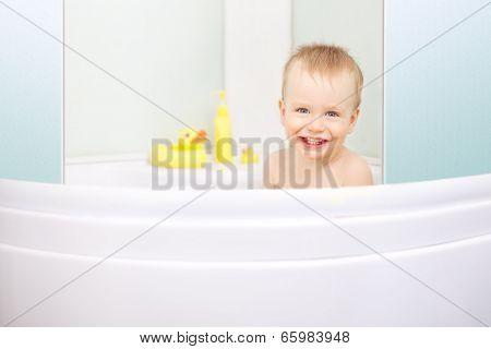 Baby Boy Having Bath