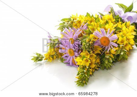 Summer Bouquet Of Daisies And Loosestrife