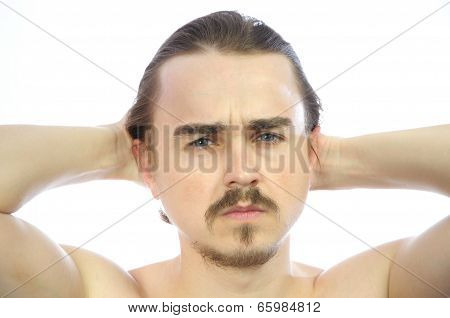 Attractive Man  With Arms Behind His Head