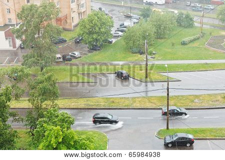 Above View Of Urban Street In Pouring Rain