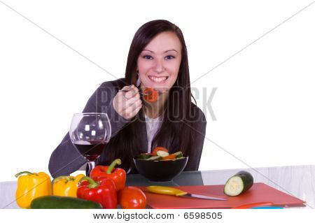 Beautiful Girl Eating Salad