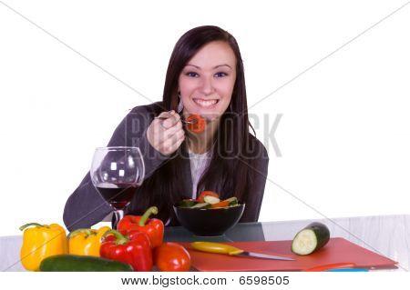 Beautiful Girl Eating Salad