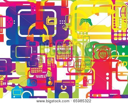 vector illustration of a selection of computer and technology hardware layered and multiplied to create an abstract background in rainbow gradients overlay