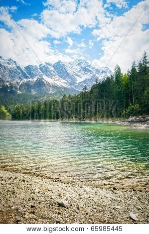 An image of the Eibsee and the Zugspitze in Bavaria Germany